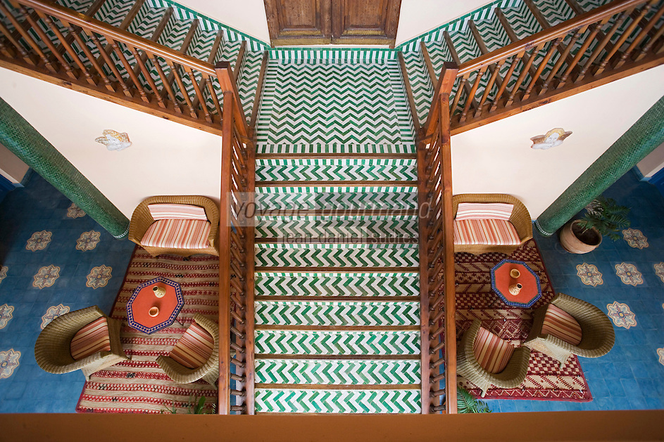 Afrique/Afrique du Nord/Maroc/Rabat : Hotel - Maison d'Hote Villa Mandarine escalier du patio [Non destiné à un usage publicitaire - Not intended for an advertising use]