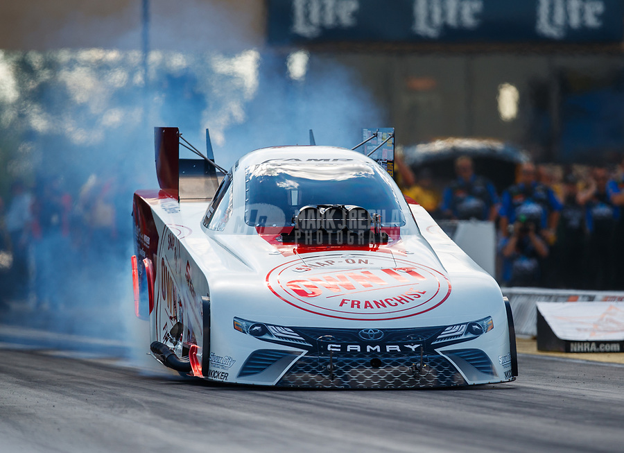 Jul 8, 2017; Joliet, IL, USA; NHRA funny car driver Cruz Pedregon during qualifying for the Route 66 Nationals at Route 66 Raceway. Mandatory Credit: Mark J. Rebilas-USA TODAY Sports`