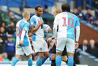 Blackburn Rovers' Elliott Bennett and Danny Graham remonstrate with referee Gavin Ward<br /> <br /> Photographer Kevin Barnes/CameraSport<br /> <br /> The EFL Sky Bet Championship - Blackburn Rovers v Luton Town - Saturday 28th September 2019 - Ewood Park - Blackburn<br /> <br /> World Copyright © 2019 CameraSport. All rights reserved. 43 Linden Ave. Countesthorpe. Leicester. England. LE8 5PG - Tel: +44 (0) 116 277 4147 - admin@camerasport.com - www.camerasport.com