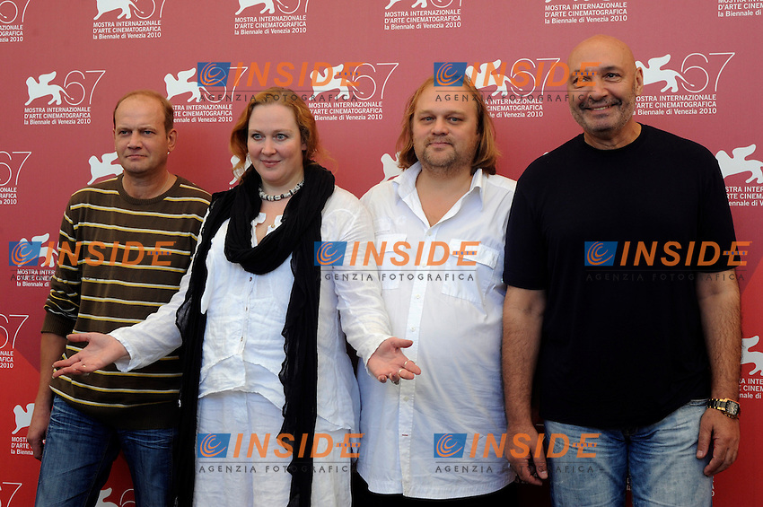 """- """"67 Mostra Internazionale D'Arte Cinematografica"""". Saturday, 2010 September 04, Venice ITALY..- In The Picture: The film director Aleksei Fedorchenko with the actores Igor Sergeyev, Yuliya Aug and Yuriy Tsurilo at the  at the photocall for the film """"OVSYANKI (SILENT SOULS)""""...Photo Stefano Micozzi / Insidefoto"""