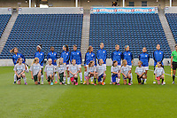 Chicago, IL - Saturday July 30, 2016: FC Kansas City Starting XI, Player escorts prior to a regular season National Women's Soccer League (NWSL) match between the Chicago Red Stars and FC Kansas City at Toyota Park.