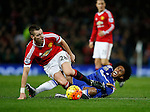 Morgan Schneiderlin of Manchester United goes in studs up on Willian of Chelsea - English Premier League - Manchester Utd vs Chelsea - Old Trafford Stadium - Manchester - England - 28th December 2015 - Picture Simon Bellis/Sportimage