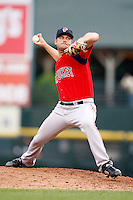 July 22, 2009:  Pitcher T.J. Large of the Pawtucket Red Sox delivers a pitch during a game at Frontier Field in Rochester, NY.  Pawtucket is the Triple-A International League affiliate of the Boston Red Sox.  Photo By Mike Janes/Four Seam Images