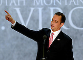 Chairman of the Republican National Committee Reince Priebus points to the new Debt Clock that began at the opening session of the 2012 Republican National Convention in Tampa Bay, Florida on Monday, August 27, 2012.  .Credit: Ron Sachs / CNP.(RESTRICTION: NO New York or New Jersey Newspapers or newspapers within a 75 mile radius of New York City)