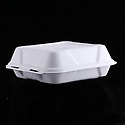 Recyclable cardboard clamshell container for takeout foods, empty
