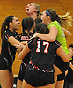 East Rockaway varsity girls volleyball players celebrate after their 3-0 win over Carle Place in the Nassau County Class C championship at SUNY Old Westbury on Tuesday, Nov. 8, 2016.