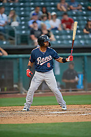 Alberto Rosario (6) of the Reno Aces bats against the Salt Lake Bees at Smith's Ballpark on June 27, 2019 in Salt Lake City, Utah. The Aces defeated the Bees 10-6. (Stephen Smith/Four Seam Images)