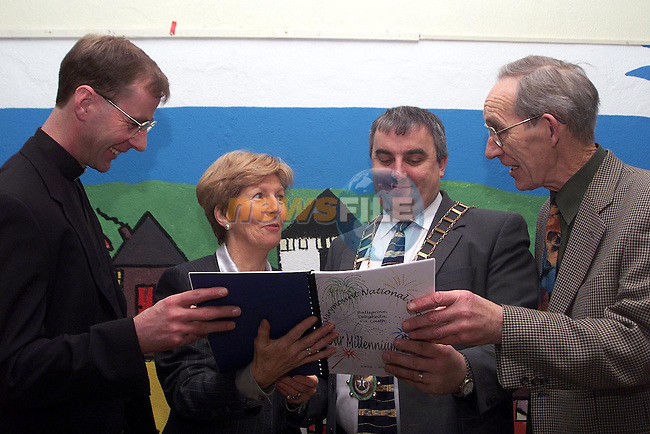 Fr. David Bradley, Mary Moran, principal, Mayor Sean Collins and Tim O'Connor, Board of Management at the lauch of Marymount National School's Millenium Book..Picture Paul Mohan Newsfile