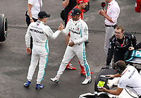 Motorsports: FIA Formula One World Championship, WM, Weltmeisterschaft 2019, Grand Prix of Mexico, 44 Lewis Hamilton GBR, Mercedes AMG Petronas Motorsport celebrates his win in parc ferme with 77 Valtteri Bottas FIN, Mercedes AMG Petronas Motorsport