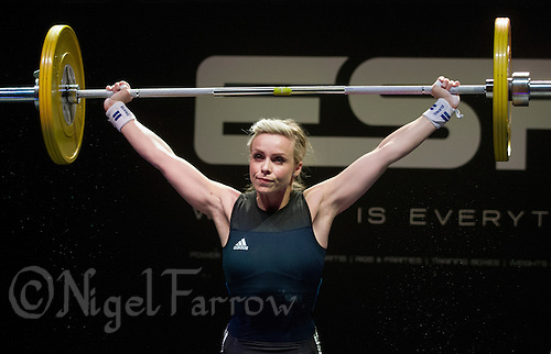 10 MAY 2014 - COVENTRY, GBR - Michelle Davis from Crossfit Manchester attempts to hold a lift during the women's 58kg category round at the British 2014 Senior Weightlifting Championships and final 2014 Commonwealth Games qualifying event round at the Ricoh Arena in Coventry, Great Britain (PHOTO COPYRIGHT © 2014 NIGEL FARROW, ALL RIGHTS RESERVED)