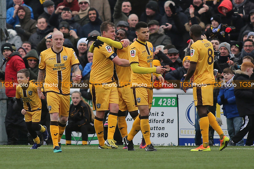 Jamie Collins celebrates scoring Sutton's opening goal by hugging Roarie Deacon during Sutton United  vs Leeds United, Emirates FA Cup Football at the Borough Sports Ground on 29th January 2017