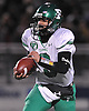 Farmingdale quarterback No. 9 Anthony Burriesci runs the ball on a keep during the Nassau County varsity football Conference I final against Oceanside at Hofstra University on Saturday, Nov. 21, 2015. Farmingdale won by a score of 34-23.<br /> <br /> James Escher