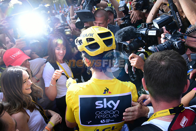Geraint Thomas (WAL) Team Sky wins the overall Yellow Jersey at the end of Stage 21 of the 2018 Tour de France running 116km from Houilles to Paris Champs-Elysees, France. 29th July 2018. <br /> Picture: ASO/Pauline Ballet | Cyclefile<br /> All photos usage must carry mandatory copyright credit (&copy; Cyclefile | ASO/Pauline Ballet)