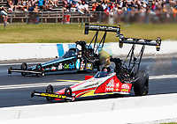 Jun 11, 2017; Englishtown , NJ, USA; NHRA top fuel driver Doug Kalitta (near) races alongside Dom Lagana during the Summernationals at Old Bridge Township Raceway Park. Mandatory Credit: Mark J. Rebilas-USA TODAY Sports