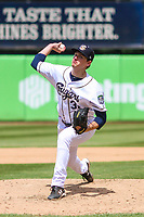 Kane County Cougars pitcher Jayson McKinley (32) delivers a pitch during a Midwest League game against the Quad Cities River Bandits on July 1, 2018 at Northwestern Medicine Field in Geneva, Illinois. Quad Cities defeated Kane County 3-2. (Brad Krause/Four Seam Images)