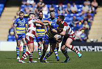 Warrington Wolves' Toby King is tackled by Wigan Warriors' George Williams (left) and Joe Greenwood <br /> <br /> Photographer Stephen White/CameraSport<br /> <br /> Rugby League - Coral Challenge Cup Sixth Round - Warrington Wolves v Wigan Warriors - Sunday 12th May 2019 - Halliwell Jones Stadium - Warrington<br /> <br /> World Copyright © 2019 CameraSport. All rights reserved. 43 Linden Ave. Countesthorpe. Leicester. England. LE8 5PG - Tel: +44 (0) 116 277 4147 - admin@camerasport.com - www.camerasport.com