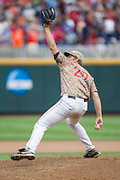 Virginia Cavaliers pitcher Josh Sborz (27) delivers a pitch to the plate against the Arkansas Razorbacks in Game 1 of the NCAA College World Series on June 13, 2015 at TD Ameritrade Park in Omaha, Nebraska. Virginia defeated Arkansas 5-3. (Andrew Woolley/Four Seam Images)