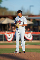 Visalia Rawhide relief pitcher Junior Garcia (26) during a California League game against the San Jose Giants on April 13, 2019 at San Jose Municipal Stadium in San Jose, California. Visalia defeated San Jose 4-2. (Zachary Lucy/Four Seam Images)
