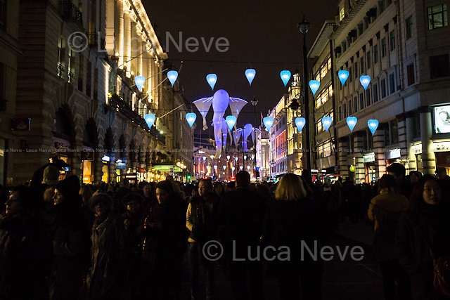 """London, 16/01/2016. Second day of the four-day festival """"Lumiere London"""". From the organisers Facebook page: <<[…] Light installations by 30 leading artists will illuminate the capital's buildings and streets across 4 main areas: - King's Cross; - Mayfair; - Piccadilly, Regent Street, and St James's; - Trafalgar Square and Westminster. […]>>.<br /> <br /> For more information please click here: http://www.lumiere-festival.com/"""
