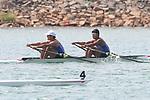 Tomokazu Kurihara & Keita Yamao (JPN), <br /> AUGUST 19, 2018 - Rowing : <br /> Men's Double Sculls Heat <br /> at Jakabaring Sport Center Lake <br /> during the 2018 Jakarta Palembang Asian Games <br /> in Palembang, Indonesia. <br /> (Photo by Yohei Osada/AFLO SPORT)
