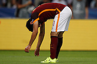 Calcio, Champions League, Gruppo E: Roma vs Barcellona. Roma, stadio Olimpico, 16 settembre 2015.<br /> Roma&rsquo;s Mohamed Salah reacts during a Champions League, Group E football match between Roma and FC Barcelona, at Rome's Olympic stadium, 16 September 2015.<br /> UPDATE IMAGES PRESS/Riccardo De Luca<br /> <br /> *** ITALY AND GERMANY OUT ***