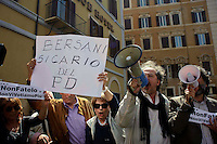 Roma 18 Aprile 2013.Proteste davanti a Montecitorio  per la candidatura di Franco Marini alla Presidenza della Repubblica da parte del Partito Democratico.