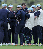 Nelson players celebrate the wicket of Jesse Ryder at Nelson Park, Napier, New Zealand on Friday, 30 October 2015. Photo: Kerry Marshall / lintottphoto.co.nz