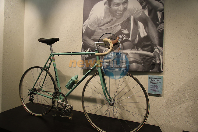 Bianchi racing bike ridden to victory by Felice Gimondi in the 1973 World Championships held in Barcelona, on dispaly in reception Bianchi Factory, Treviglio, Italy. 30th September 2015.<br /> Picture: Eoin Clarke | Newsfile