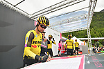 Primoz Roglic (SLO) and Team Jumbo-Visma at sign on before Stage 17 of the 2019 Giro d'Italia, running 181km from Commezzadura (Val di Sole) to Anterselva / Antholz, Italy. 29th May 2019<br /> Picture: Massimo Paolone/LaPresse | Cyclefile<br /> <br /> All photos usage must carry mandatory copyright credit (© Cyclefile | Massimo Paolone/LaPresse)