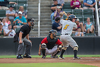 Mitchell Tolman (5) of the West Virginia Power at bat against the Kannapolis Intimidators at Kannapolis Intimidators Stadium on August 20, 2016 in Kannapolis, North Carolina.  The Intimidators defeated the Power 4-0.  (Brian Westerholt/Four Seam Images)