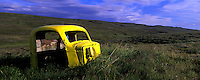 Old car near Nordura near Borgarnes Iceland. Images taken with Hasselblad Xpan camera and Fuji Velvia film.