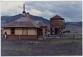 Sargent depot &amp; water tank after abandonment.  Some deterioration is obvious.<br /> D&amp;RGW  Sargent, CO  ca. 1967