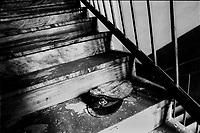 berretto di un secondino, abbandonato sulle scale dell'ex carcere San Donnino di Como