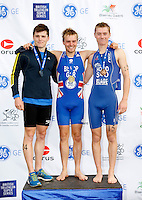 Photo: Richard Lane/Richard Lane Photography. GE Parc Bryn Bach Triathlon. 19/09/2010. (lt to rt) David Bishop (2nd),  Tom Bishop (1st) and Andrew Hood (3rd) after the Junior Super Series Mens' race.