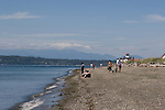 West Point lighthouse, Discovery Park, Puget Sound, Olympic Mountains, Washington State, Pacific Northwest, U.S.A., beach, summer day,