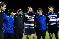 Kane Palma-Newport of Bath United speaks to his team-mates in a huddle after the match. Aviva A-League match, between Bath United and Wasps A on December 28, 2016 at the Recreation Ground in Bath, England. Photo by: Patrick Khachfe / Onside Images