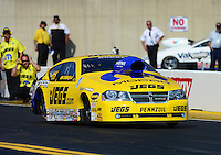 Oct. 5, 2012; Mohnton, PA, USA: NHRA pro stock driver Jeg Coughlin during qualifying for the Auto Plus Nationals at Maple Grove Raceway. Mandatory Credit: Mark J. Rebilas-
