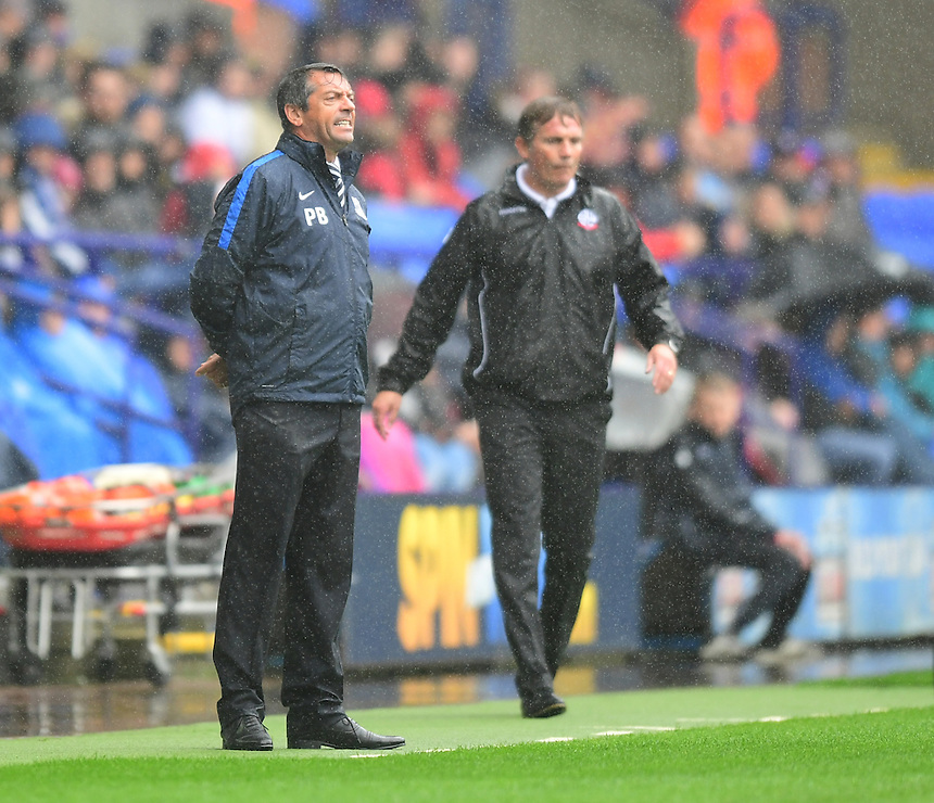 Southend United manager Phil Brown shouts instructions to his team from the dug-out<br /> <br /> Photographer Chris Vaughan/CameraSport<br /> <br /> The EFL Sky Bet League One - Bolton Wanderers v Southend United - Saturday 3 September 2016 - Macron Stadium - Bolton<br /> <br /> World Copyright &copy; 2016 CameraSport. All rights reserved. 43 Linden Ave. Countesthorpe. Leicester. England. LE8 5PG - Tel: +44 (0) 116 277 4147 - admin@camerasport.com - www.camerasport.com
