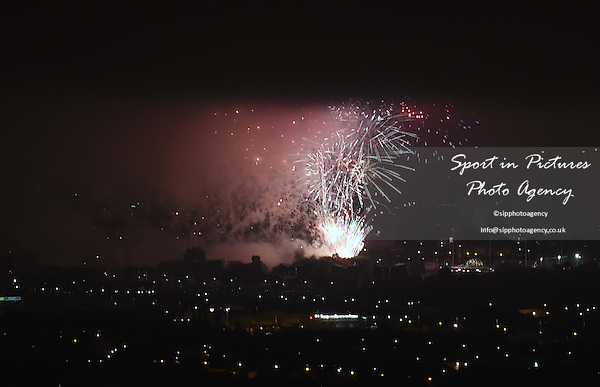 Fireworks over Glasgow. Opening Ceremony - Celtic Park - Glasgow- PHOTO: Mandatory by-line: Garry Bowden/SIPPA/Pinnacle - Photo Agency UK Tel: +44(0)1363 881025 - Mobile:0797 1270 681 - VAT Reg No: 183700120 - 240714 - Glasgow 2014 Commonwealth Games - Celtic Park, Glasgow, Scotland, UK