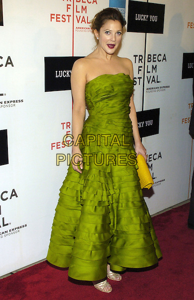 "DREW BARRYMORE.6th Annual Tribeca Film Festival - ""Lucky You""  World Premiere held at the Borough of Manhattan Community College, New York City, New York, USA..May 1st, 2007.full length strapless green ruffle layered ruffles dress yellow clutch bag mouth open funny face .CAP/ADM/BL.©Bill Lyons/AdMedia/Capital Pictures *** Local Caption ***"