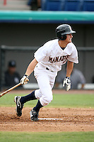 April 15, 2009:  Center fielder Logan Schafer of the Brevard County Manatees, Florida State League Class-A affiliate of the Milwaukee Brewers, during a game at Space Coast Stadium in Viera, FL.  Photo by:  Mike Janes/Four Seam Images