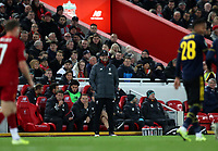 30th October 2019; Anfield, Liverpool, Merseyside, England; English Football League Cup, Carabao Cup, Liverpool versus Arsenal; Liverpool manager Jurgen Klopp smiles as he looks on from the technical area - Strictly Editorial Use Only. No use with unauthorized audio, video, data, fixture lists, club/league logos or 'live' services. Online in-match use limited to 120 images, no video emulation. No use in betting, games or single club/league/player publications