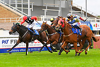 Vixen ridden by Edward Greatrex and trained by Eve Johnson Houghton strides for home to win The Bathwick Tyres Handicap (Div 1) during Bathwick Tyres Reduced Admission Race Day at Salisbury Racecourse on 9th October 2017