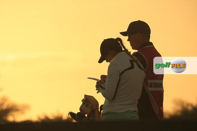 Marianne Skarpnord (NOR) &amp; Richard Green (AUS) during the second round of the Fatima Bint Mubarak Ladies Open played at Saadiyat Beach Golf Club, Abu Dhabi, UAE. 11/01/2019<br /> Picture: Golffile | Phil Inglis<br /> <br /> All photo usage must carry mandatory copyright credit (&copy; Golffile | Phil Inglis)