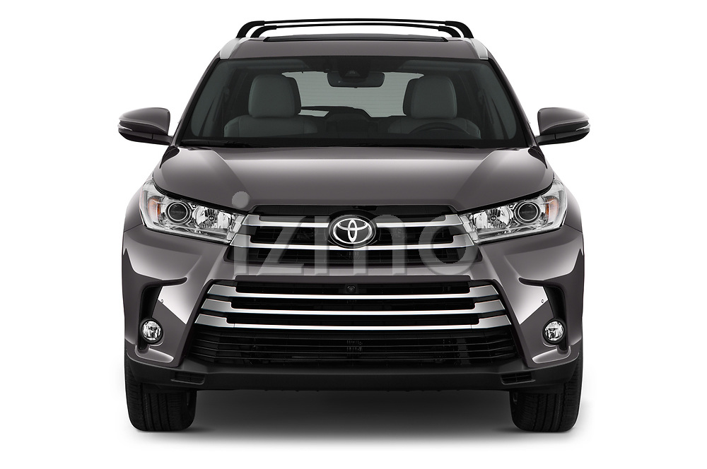 Car photography straight front view of a 2018 Toyota Highlander Limited-Platinum 5 Door SUV Front View