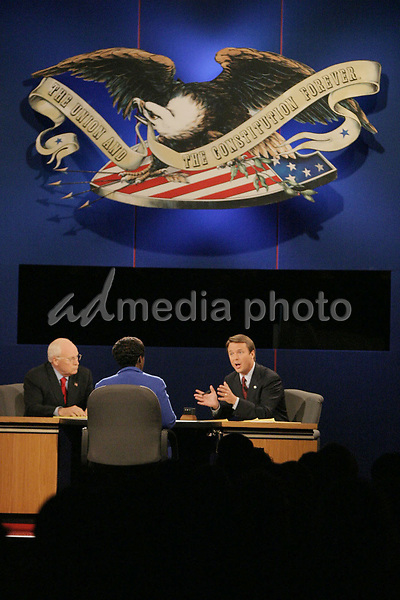 05 October 2004- Cleveland, Ohio - John Edwards meets Dick Cheney during the vice presidential debate at Case Western Reserve University. Gwen Ifill of PBS moderated the debate. Photo Credit by  Ralph Alswang/AdMedia.