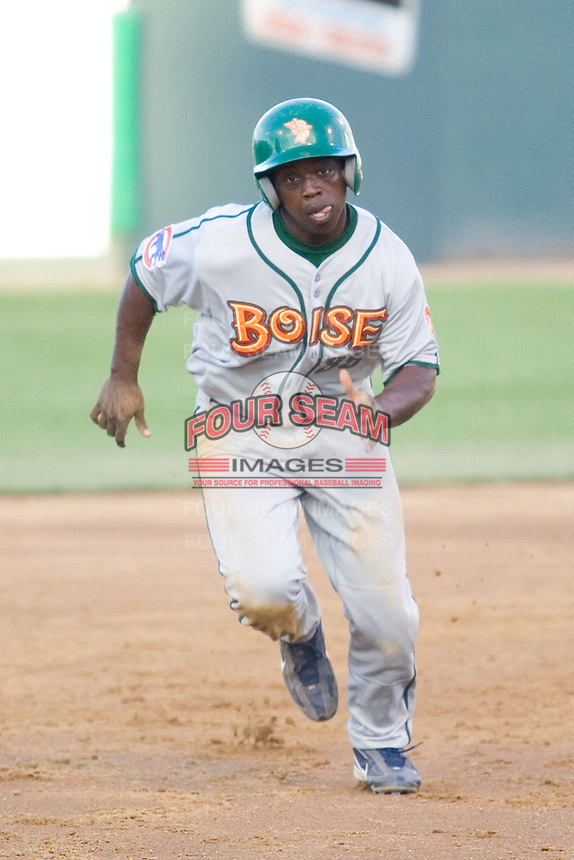 July 19, 2007: Boise Hawks' infielder Marquez Smith heads into third base while playing against the Everett AquaSox in a Northwest League game at Everett Memorial Stadium in Everett, Washington.