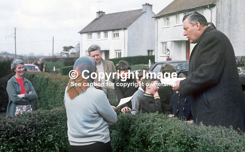 Rev Ian Paisley canvassing as the Protestant Unionist candidate in the Bannside, Co Antrim, constituency by-election of 16th April 1970 caused by the resignation of Terence O'Neill, the sitting MP. He had resigned the previous year as N Ireland's Prime Minister being succeeded by Major James Chichester-Clark. 197004000113b<br />