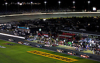 Wide angle view of the Bank of America 500 NASCAR race at Lowes's Motor Speedway in Concord, NC.