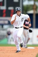 Detroit Tigers first baseman Jordan Lennerton (28) during a spring training game against the Atlanta Braves on February 27, 2014 at Joker Marchant Stadium in Lakeland, Florida.  Detroit defeated Atlanta 5-2.  (Mike Janes/Four Seam Images)